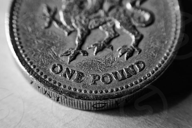 Old one pound coin macro closeup  photo