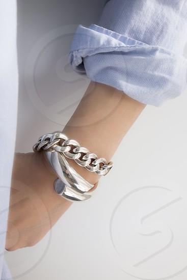 chunky silver link and wrap bracelets photo