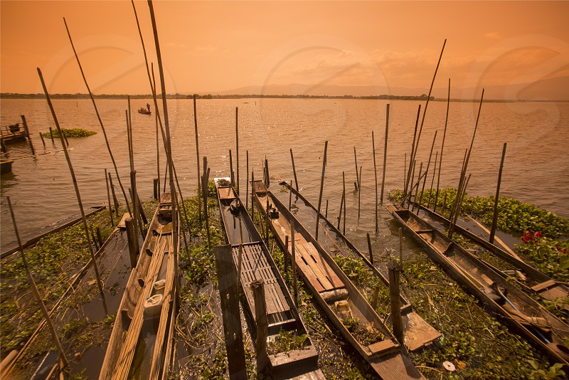 woodboat at the lake of Kwan Phayao in the city of Phayao in North Thailand. photo
