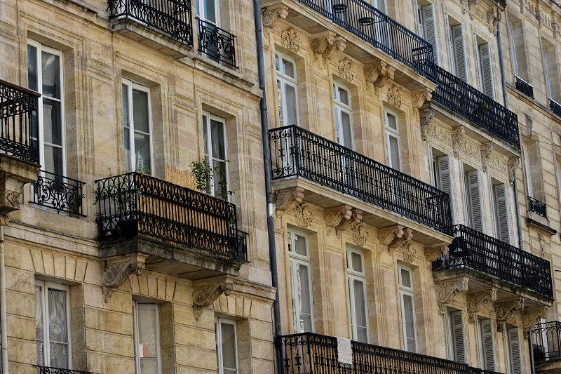 Apartment balconies in Bordeaux France. photo