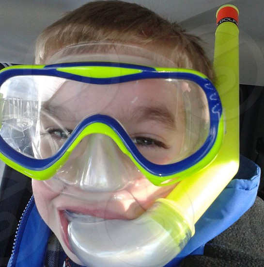 Snorkeling mask boy funny photo