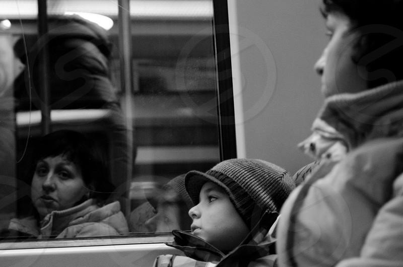 woman and child inside a train photo