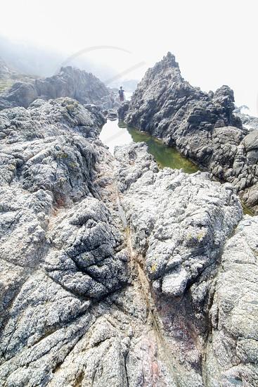gray mountain top view  photo