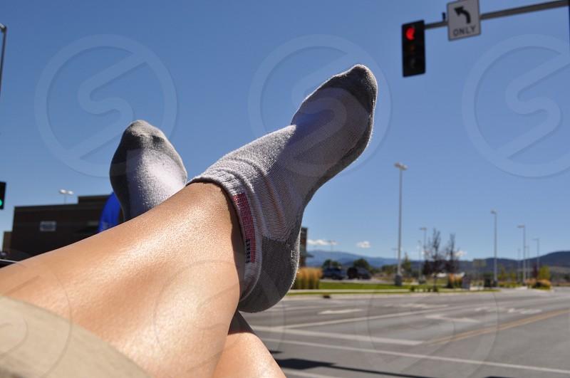 Resting feet on a roadtrip photo