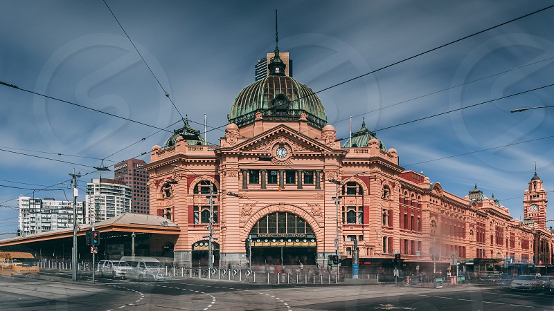 Iconic Flinders Street Station train station movement and blur Melbourne architecture iconic building clock clocks public transport street scape  photo