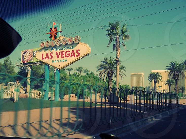 Las Vegas sign on the road road trip USA car photo