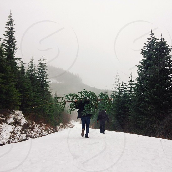 2 person walking on snow photo