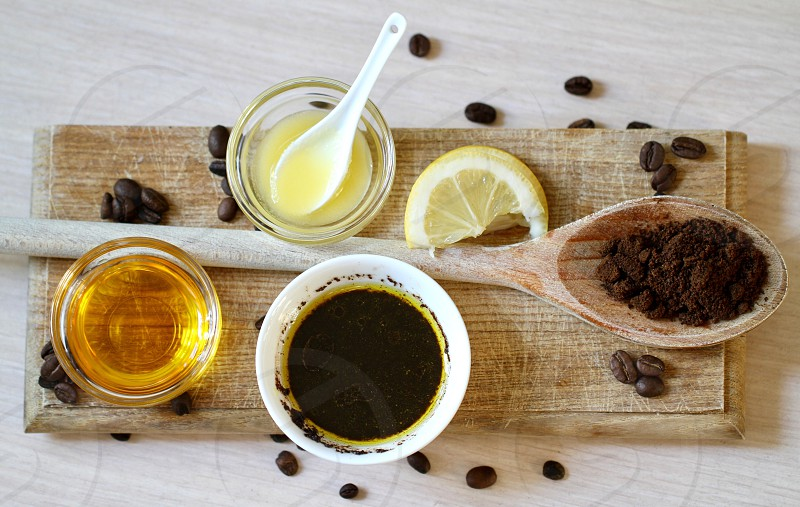 Homemade facial mask relaxing spa skin care beauty product healthy health care nutrition vitamin relax ginger honey avocado lime lemon coffee wooden board egg bowls healthy lifestyle still life hair care hair mask treatment therapy photo