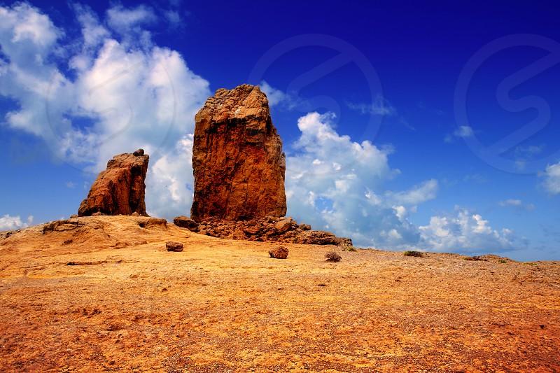 Gran canaria Roque Nublo Tejeda blue sky in canary Islands photo