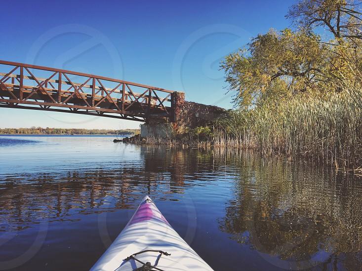 Fall kayaking in the lake photo