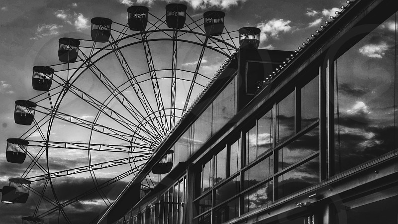 Ferris wheel  grayscale photograph  photo