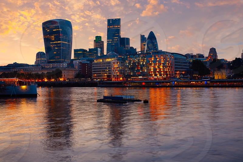 London financial district skyline sunset Square Mile England photo