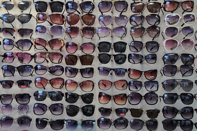 multicolored sunglasses on display photo