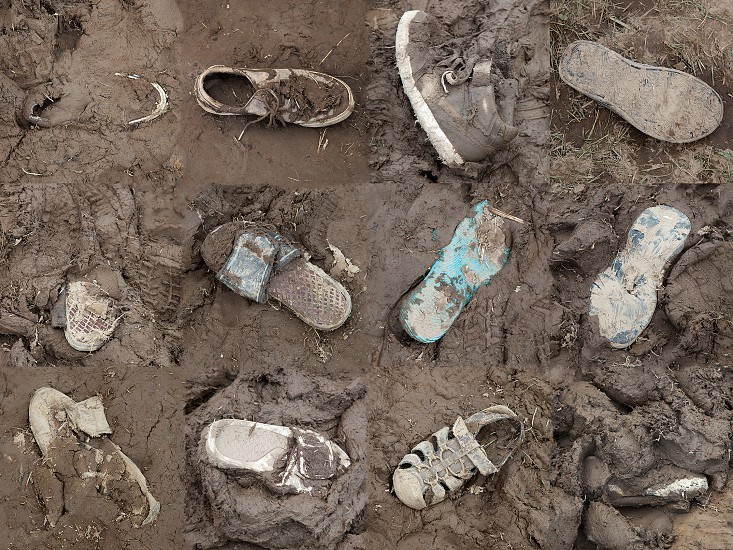 Shoes lost in the mud photo