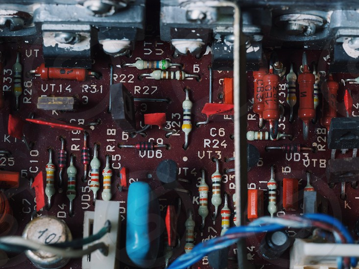 The soft blurred of the old car stereo power amplifierCircuit Electronic BoardTransformers amplifierElectronic equipment. systems deivices and components photo
