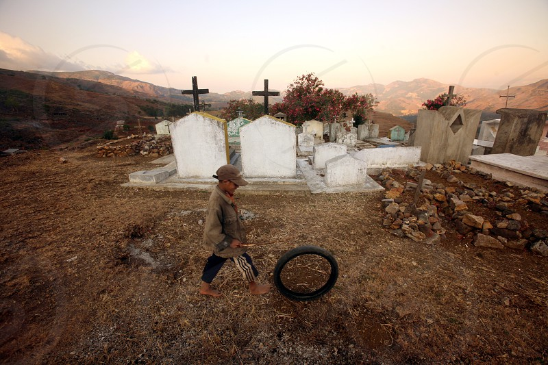 a traditional graveyard at the village of Moubisse in the south of East Timor in southeastasia.