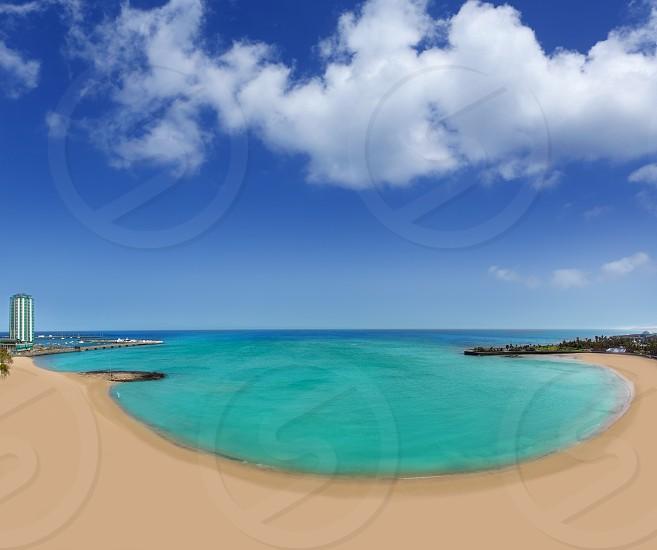 Arrecife beach Playa del Reducto in Lanzarote at Canary Islands photo
