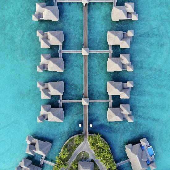 Bora bora bora Polynesia bungalow villa lagoon overwater aerialwaterseavacationrelax photo