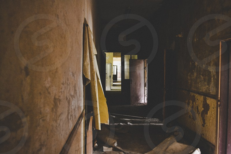 Hallway in abandoned building. photo