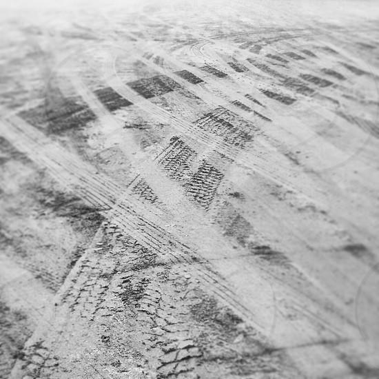 Leading lines. Wheel prints. Mud. Segovia. photo