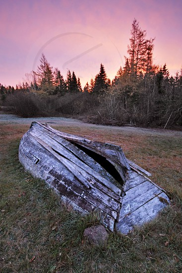gray wooden boat upside down on green grass during sunset photo
