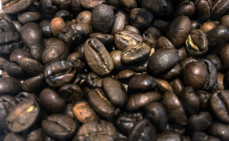large group of raw roasted brown coffee beans stored in a container and then ground. Blurred and shallow depth of field. Close up view. Agriculture and organic products photo