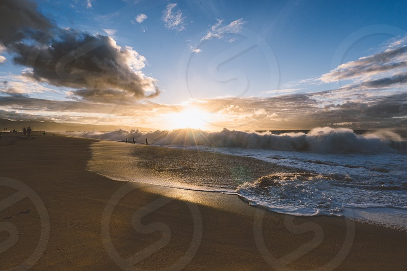 Sunset Hawaii beach light natural photo