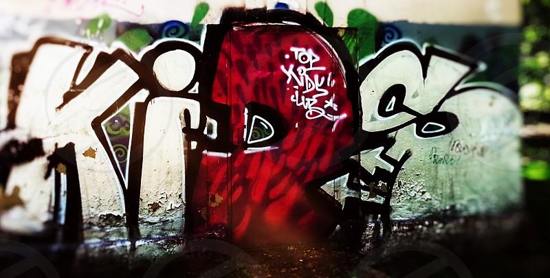 Russian graffiti on the street photo