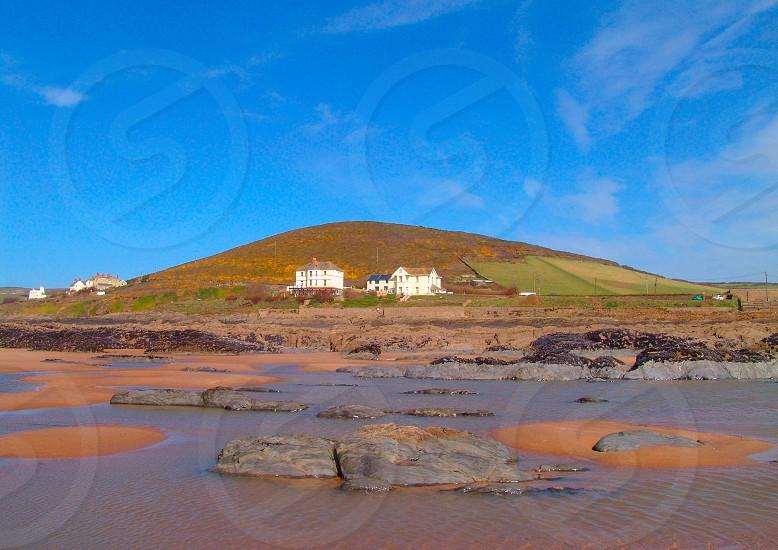 beach crowed bay north devon uk coast photo