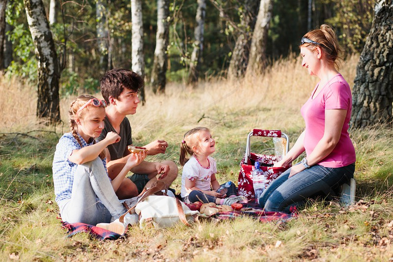 Family spending vacation time together having a snacks on a picnic sitting on blanket on grass in forest on sunny day in the summertime photo
