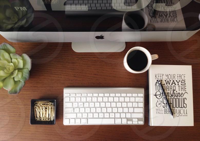 Desktop book keyboard coffee computer  photo