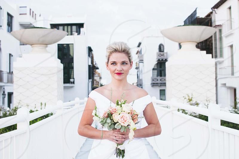 woman in white dress photo