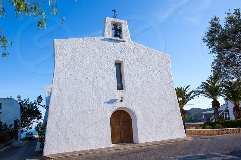 Ibiza Es Cubells church in san Jose at Balearic Islands of spain photo