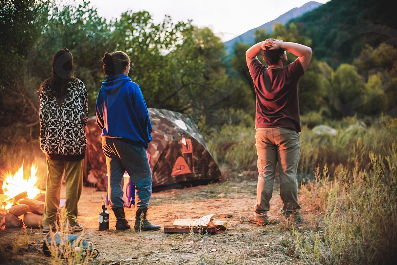 Early morning camping with friends photo