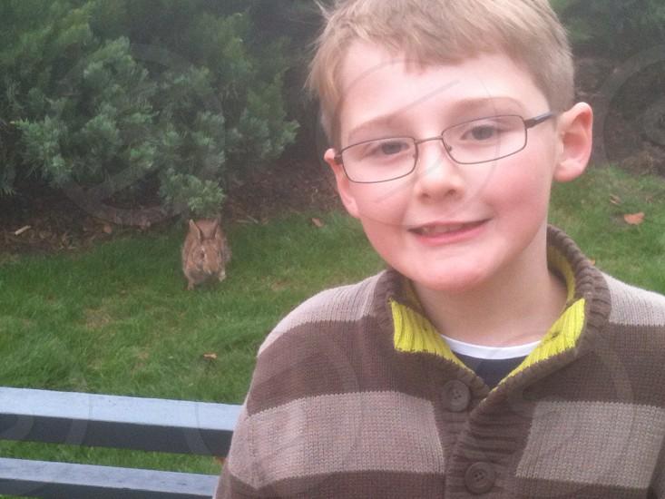 Boy with bunny. photo