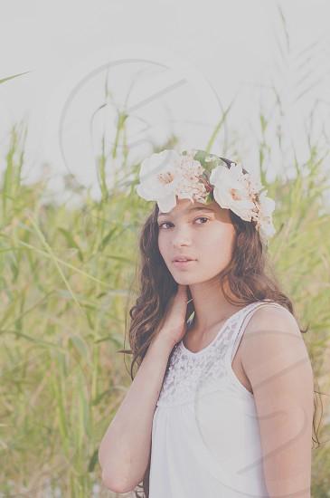 Woman outdoor flowers ethnic photo