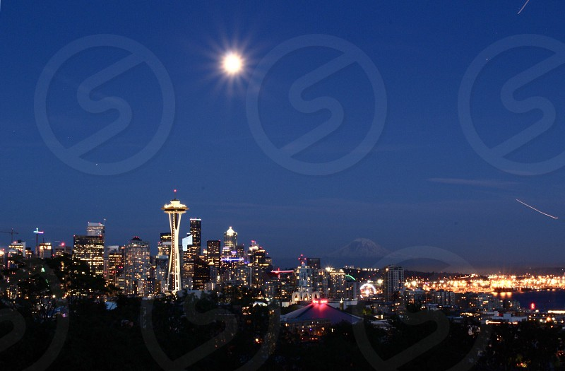 City cityscape Seattle cities nightlife simple sky empty photo