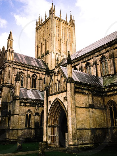 Wells Cathedral Somerset Gothic Medieval architecture beautiful church. photo