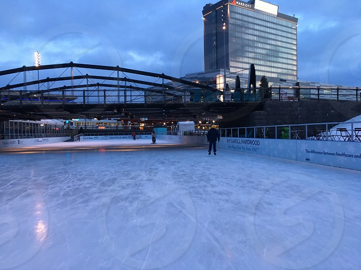 Buffalo Canalside skating rink and recreation area downtown Buffalo New York photo