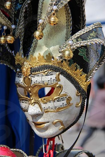 mask mardi gras carnival Venice Italy music notes photo