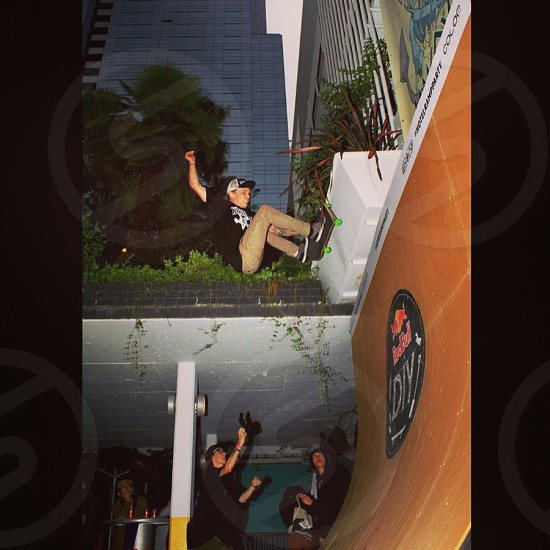 Jeff Muirhead bouncing off tha planter at  Hotel Takeover.. Spring 2013 photo