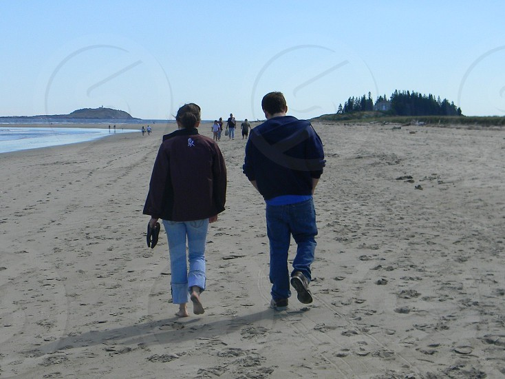 Maine walking sand beach walking on the beach photo