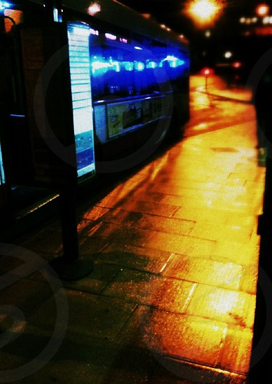 travel bus night neon photo