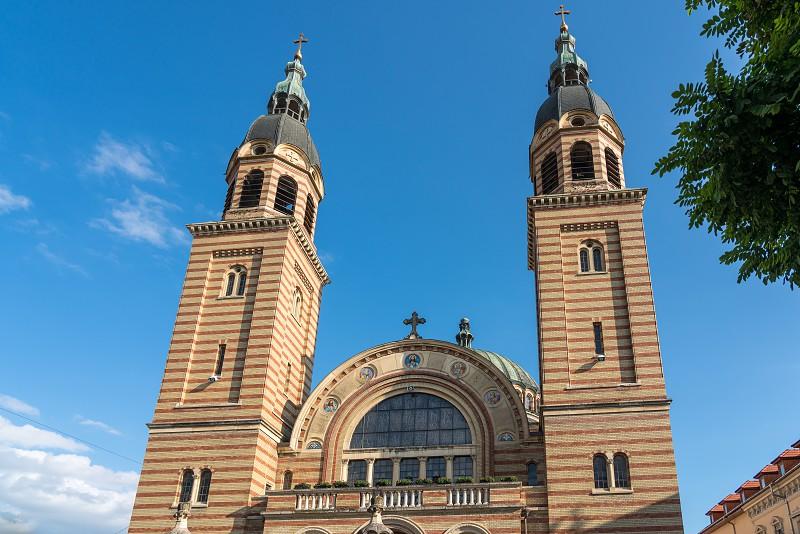 SIBIU TRANSYLVANIA/ROMANIA - SEPTEMBER 16 : Exterior view of the Holy Trinity Cathedral in Sibiu Transylvania Romania on September 16 2018 photo