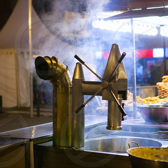Churros and chocolate fritter typical food in Valencia Fallas fest at spain photo