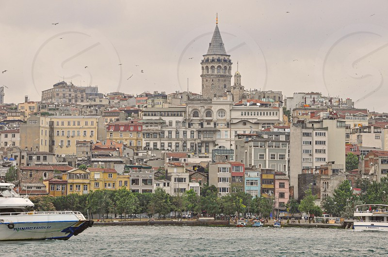 View of Galata Tower and from the golden horn  photo