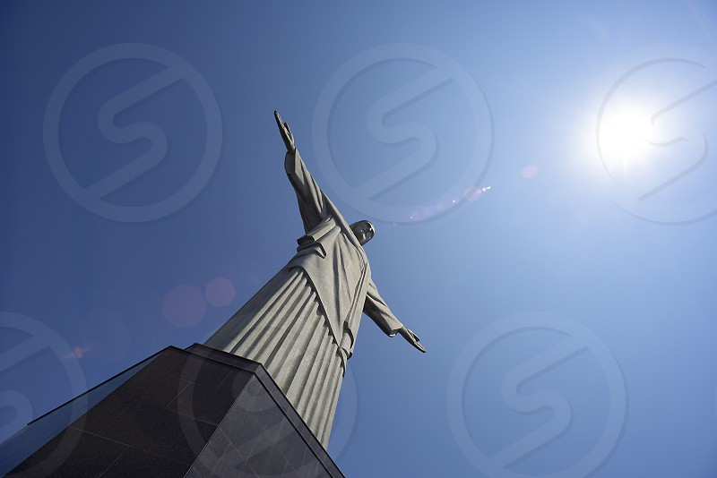 Low angle view of the Christ the Redeemer statue in Rio de Janeiro photo