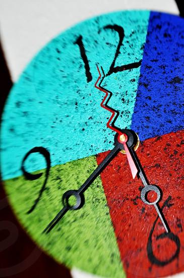 A fun colorful funky clock photo