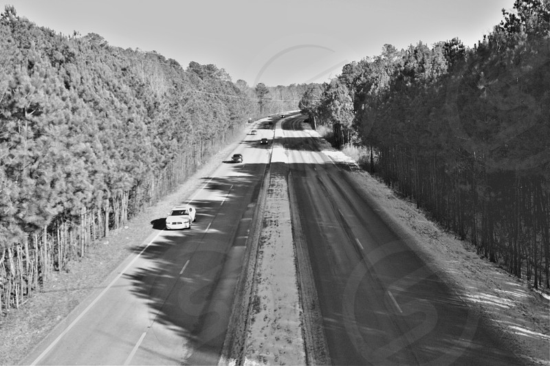 Snowy road in Atlanta Georgia. photo