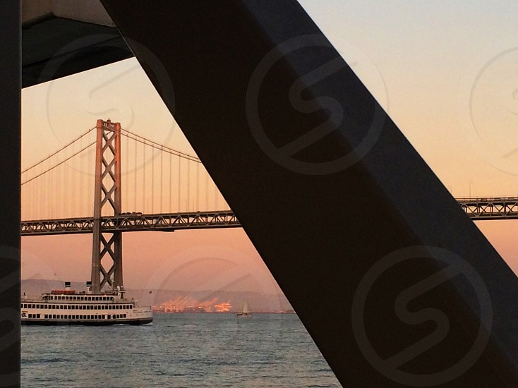 San Francisco Bay Bridge from a ferry photo